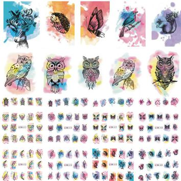 12 Designs Nail Art Watercolor Stickers Beauty Tattoo Temporarily Decals Nail Art Butterfly/Owl Stickers LABN409-420N