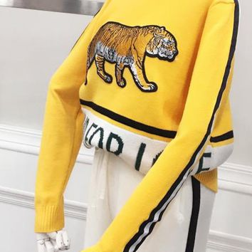 Yellow Stripe Tiger Embroidery Letter Pattern Knit Sweater