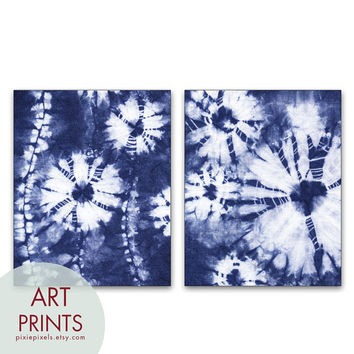 Shibori Indigo Botanicals - Series A2 - Set of 2 - Art Prints (Abstract Nature Inspired Plants)