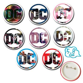OHCOMICS DC COMICS Suicide Squad 8 Pcs/Set Badges PVC Pins Harley Quinn Backpack Button Brooch Costume Accessory Pendants Decor
