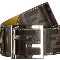 CHEN1ER Fendi women's adjustable length reversible belt zucca yellow