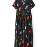 Black Floral Pleated Short Sleeve Shift Maxi Dress