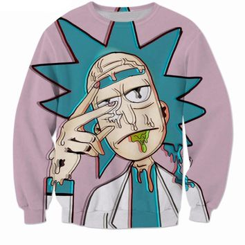 Rick And Morty Trippy Hipster Funny Hoodie Sweatshirt