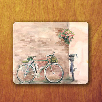 Bicycle Painting Mouse Pad Brown Brick Wallpaper Beautiful Vintage Office Deco Desk Word Pad Personalized Pad Funny Gift Personalized mat