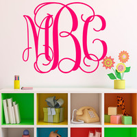 Monogram Initials Wall Decal - Fancy Wall Decal - Large Personalized Wall Decal - Monogram Wall Decal - Kid Decal - Baby Name Decal - ND19