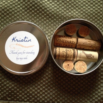 Personalized Wine Cork Magnets Set of 8 in an 8oz Round Tin, Wine Gifts, Favors, Wine Theme, Cork Crafts, Mother's Day