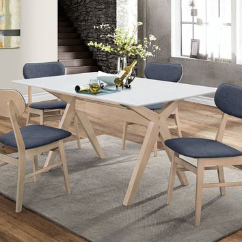 Acme 74685-82 5 pc Rosetta II white top and white wash finish wood dining table set