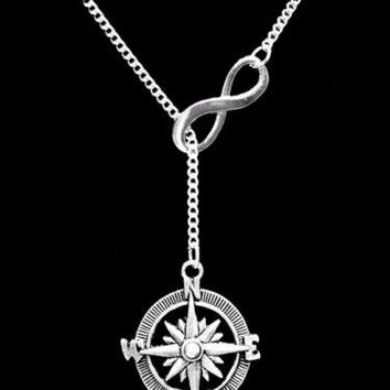 Infinity Compass Direction Sister Best Friends Charm Lariat Necklace