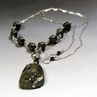 Pyrite Druzy Statement Necklace with large pyrite druzy pendant