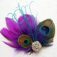 Purple and Aqua Peacock Feather Hair Clip Bridal by WeeGardens