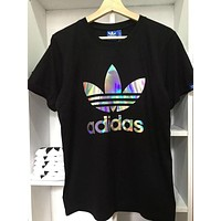 Adidas Trending Unisex Leisure Reflective Big Logo Trefoil Boyfriend Short Sleeve T-Shirt Top Black I