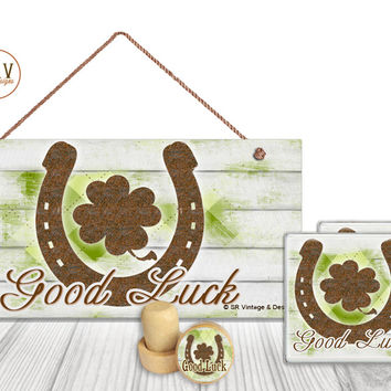 "Gift Set, 4 PC, Good Luck Rusty Horseshoe, St. Patrick's 5"" x 10"" Wood Sign, Two Drink Coasters, One Decorative Wine Stopper, Made To Order"