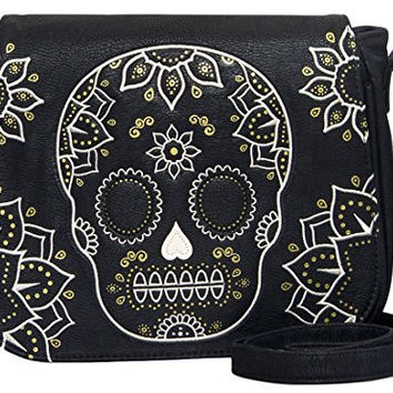 Loungefly Cream and Gold Sugar Skull Black Crossbody Purse