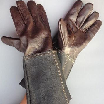 Welder's leather mechanic work gloves Cowhide argon arc welding wear-resistant gloves Insulated