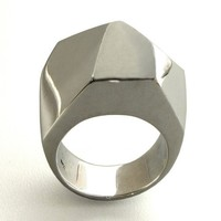 Gem Faceted Large Ring Sterling Silver Geometric Jewelry by arosha
