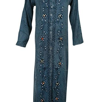 Womens Maxi Dress Blue Stonewashed Rayon Embroidered Bohemian Evening Long Dresses: Amazon.ca: Clothing & Accessories