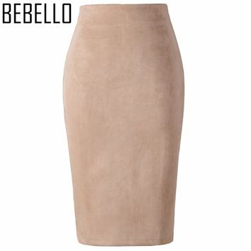 Summer Office Sexy Ladies Suede Pencil Skirts High Waist Midi Womens Bodycon Sexy Pink Gray Big Size XXL Jupe Femme S0807