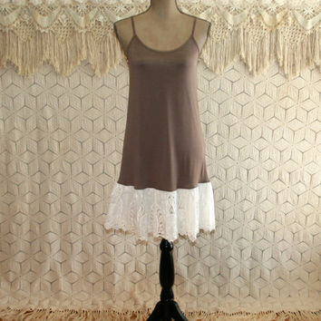 Spaghetti Strap Tank Dress Extender Knit Slip Romantic Boho White Battenburg Lace Mocha Summer Dress Medium Womens Clothing
