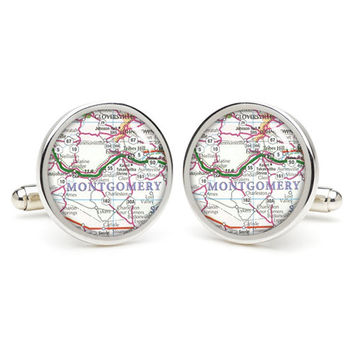 Vintage Montgomery  map cufflinks , wedding gift ideas for groom,gift for dad,great gift ideas for men,groomsmen cufflinks,silver cufflinks,