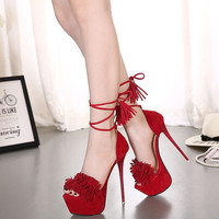 Womens Sexy Fringe Open Toe Pump Stiletto High Heels