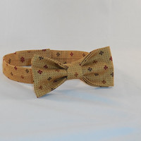 Men's Tan Adjustable Bowtie With Burgundy and Green Accents