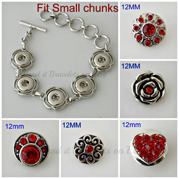 My Valentine - Mini Snap Charms bracelet with 5 x 12 mm Red Noosa or Gingersnap Charms.