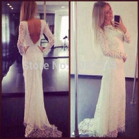 High Quality Scoop Lace Long Sleeve Backless Sheath Wedding Dress