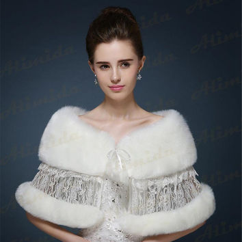 2017 New Design Winter Wedding Shawl Lace Shurg Faux Fur Bridal Wraps Wedding Cape White Lace Bolero Jacket for Evening Dresses