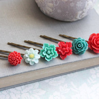 Flower Hair Pins Bright Red Rose Flower Bobby Pins Bridesmaid Gift Flower Girl Set of Six (6) Colorful Modern Wedding Boho Chic Teal and Red