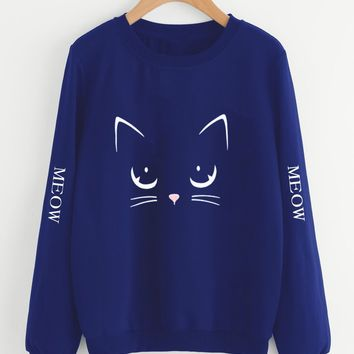 Letter & Cat Print Sweatshirt