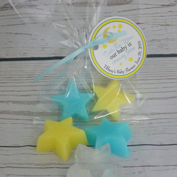 Star Baby Shower Soap Party Favors - Twinkle Little Star Nursery theme, Moon and Back party favors custom color & scent | Pack of 10