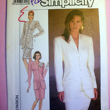 Women's Suit with Lined Jacket Misses' Size 14 Simplicity 8433 Sewing Pattern Uncut