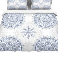 "KESS InHouse JG1069ACD03 Julia Grifol ""Mandalas In Blue"" King Cotton Duvet Cover, 104"" x 88"""