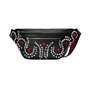 Women Fashion Crystal Diamond Zip Waist Bag Messenger Bag Small Chest Bag