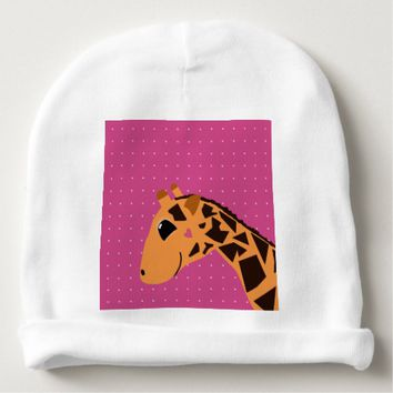 Cute Giraffe Drawing with Polka Dots Baby Beanie