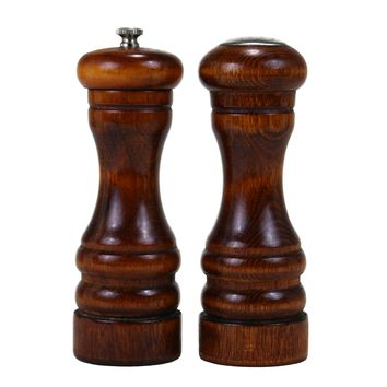 Baribocraft Wooden Salt & Pepper Set, Small Pepper Mill, Teak Stained Maple