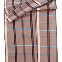 Barolo-Plaid Luxury Silk Wool Scarf-Marsala