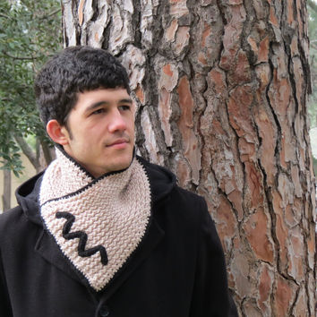 Knitted Scarf Men - Winter Scarf Mens Chunky Cowl, Man, guys, vanilla black chevron neckwarmer, Tan, scarves