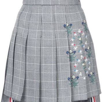 CREYONJF Thom Browne Dropped Back Mini Pleated Skirt With Floral Wallpaper Embroidery In Prince Of Wales Heavy Wool - Farfetch