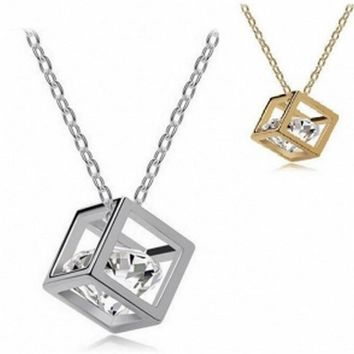 New Fashion Necklace Bijoux Link Choker Chain Statement Necklace Shining Charm Square Crystal Necklaces & Pendants For Women
