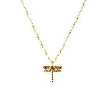 22Ct Yellow Gold Natural Diamond & Emerald Dragonfly Necklace