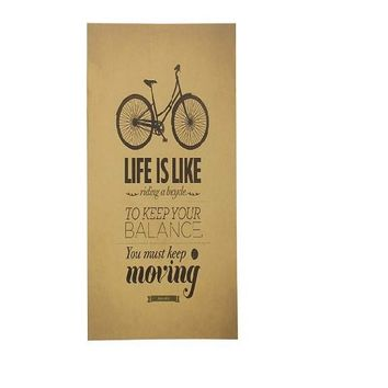 Life is Like Riding a Bicycle Poster Retro Kraft Paper Wall Sticker