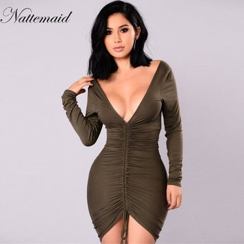 winter Long Sleeve Dresses Elegant Vintage Work Office Business Party Elegant Bodycon Pencil Dress