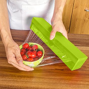 Kitchen Tool Plastic Food Wrap Cling Film Dispenser Aluminum Foil Wax Paper Cutter Cutting Box