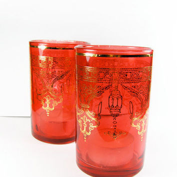 Vintage Red and Gold Tea Light Candle Holders, Set of Two / Red Glass Candle Holders / Bougeoirs Rouge.