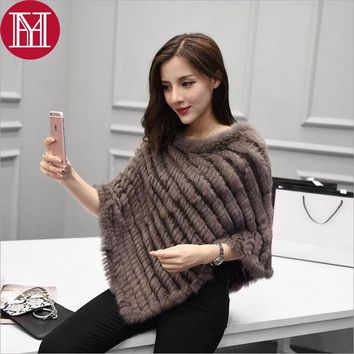 Winter Ladies' Genuine 100% Real Knitted Rabbit Fur Poncho Women Fur Pashmina Wrap Female Party Pullover Good Quality Fur Scarf