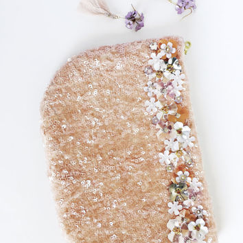Blush pink sequin clutch - evening clutch - bridal clutch - flower clutch - sequin embroidery