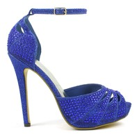 Celeste Ingrid-05 Rhinestone High Heel Dress Pump in Blue @ ippolitan.com