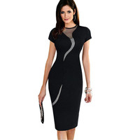 Elegant Women Dress Mesh Round Neck Short Sleeve Back Zipper Solidcolor Bodycon Dress Office Dress Vestidos Black/Red