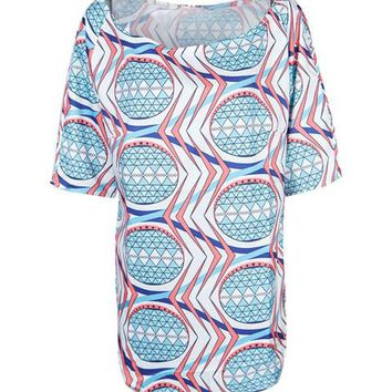 Color Print Dashiki South Africa Women Loose Blouse Tribal Print Side High Slit Girl Summer Plus Sizes Casual Blouse 2016 Tops